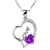 [grxjy5100325]S925 Sterling Silver Purple Crystal Heart Pendant Necklace