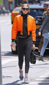 jacket,top,gigi hadid,bomber jacket,sneakers,leggings,sunglasses,mesh,mesh top,turtleneck,gigi hadid bomber jacket,Gigi Hadid Leggings