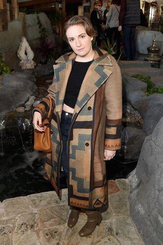 coat lena dunham celebrity style celebrity actress long coat winter coat top crop tops black crop top jeans denim boots bag handbag brown bag