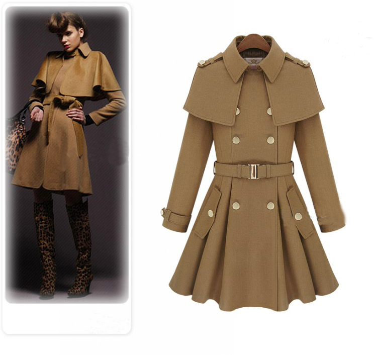 khaki Double Breasted Cape Collar Skirt Hem Woolen Coat$89