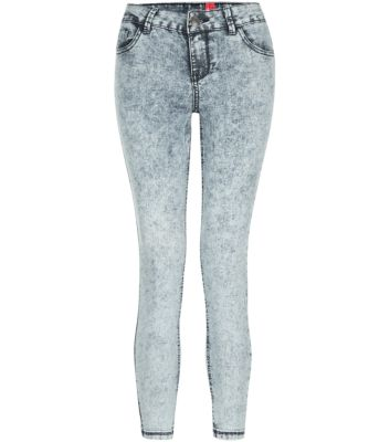 Tall 36in Pale Grey Acid Wash Skinny Jeans