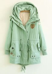 coat,mint,jacket,mint coat,parka,fur,rainy coat,cute