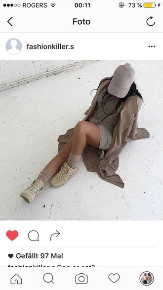 coat beige coat t-shirt dress cap sneakers shoes hat