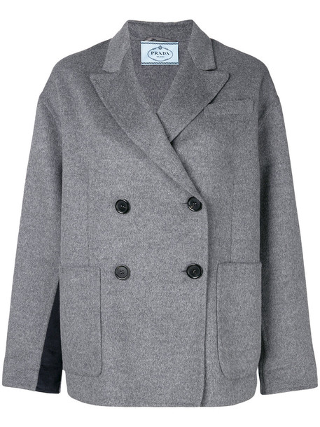 coat short double breasted women wool grey
