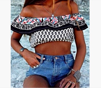 top printed cut off shorts off-shoulder crop tops