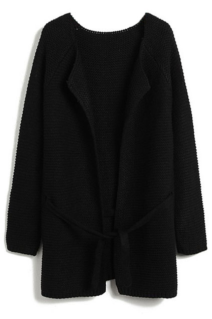 ROMWE | Black Long Sleeve Drawstring Loose Cardigan, The Latest Street Fashion