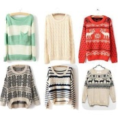 sweater,green,cream,aztec,pullover,jumper,dress,oversized,cute,comfy,christmas,christmas sweater,warm,print,oversized sweater