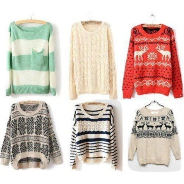 Sweater: green, cream, aztec, pullover, jumper, dress, oversized ...