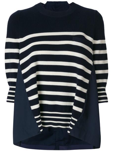 Sacai sweater oversized women cotton blue