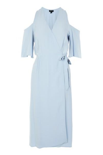 Topshop dress wrap dress midi cold blue