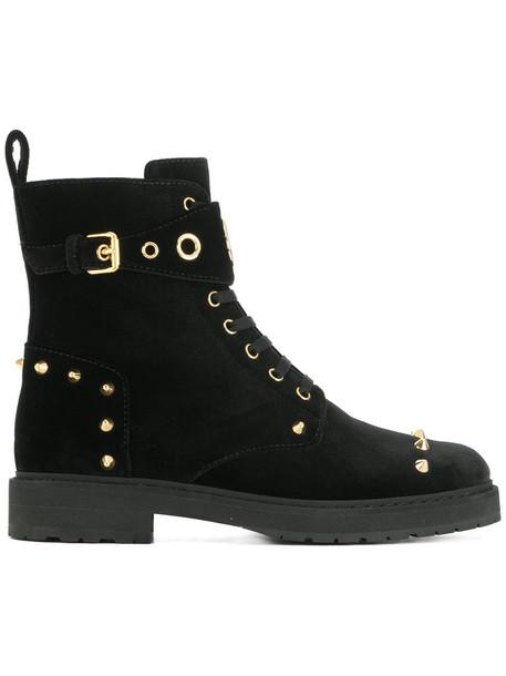 women embellished boots lace leather black velvet shoes
