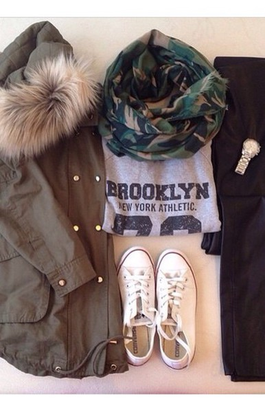 shoes converse shirt scarf pants watch jacket coat