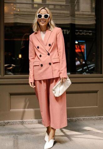 sunglasses pink blazer pink pants wide-leg pants white flats shoes white shoes white shirt white bag bag white sunglasses cat sunglasses