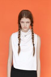 top,white top,sports top,nike,nike top,health goth,braid,sportswear