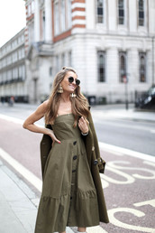 dress,green dress,tumblr,midi dress,coat,green coat,monochrome outfit,button up,sunglasses