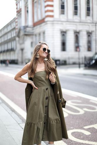 dress green dress tumblr midi dress coat green coat monochrome outfit button up sunglasses