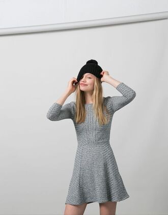 dress ribbed grey dress knitted dress short dress beanie