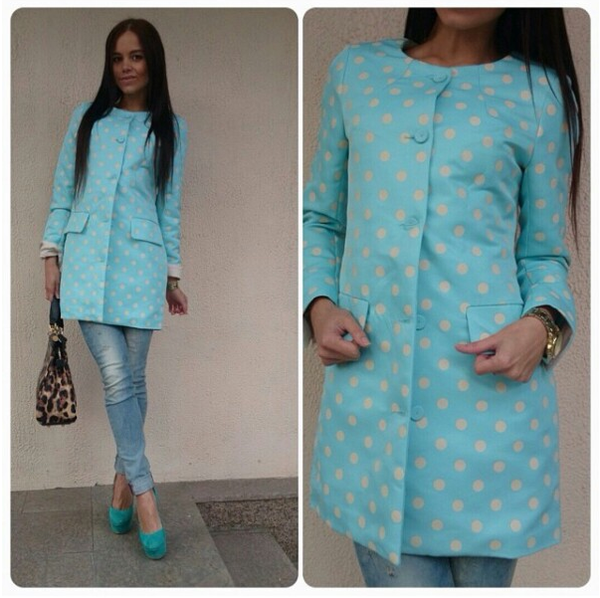 3 colors long polka jacket grass blue pink yellow green