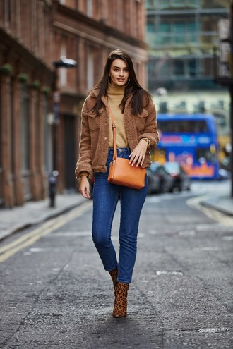 peexo blogger jacket sweater jeans shoes bag brown jacket crossbody bag orange bag ankle boots