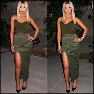 dress black dress skirt black black heels heels green green dress olive green green skirt blonde hair brooklyn blonde watch