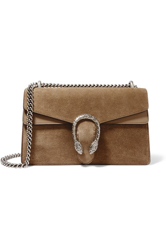 bag shoulder bag leather suede taupe