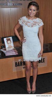 dress,lauren conrad,white lace dress,white dress,lace dress,short dress