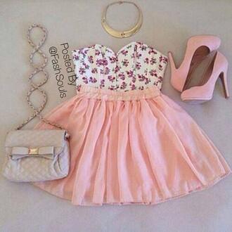 dress pink shoes pink and white dress creme bag bag bracelets top shoes