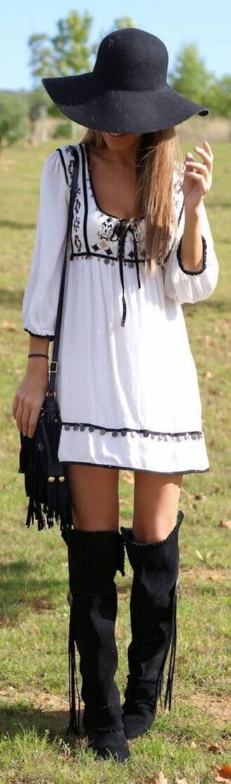 dress peasant dress black and white summer dress summer festival festival dress boho boho chic white dress short dress hippie hippie chic boho dress hippie dress summer outfits embroidered embroidered dress music festival bohemian bohemian dress