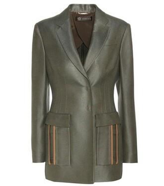 blazer silk green jacket