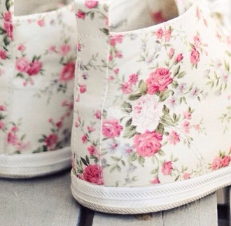 shoes sneakers flowers white pink roses pink roses