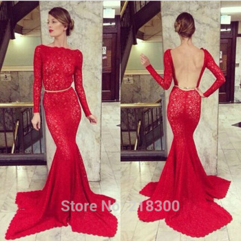 com : Buy Red Long Sleeves Mermaid Lace Backless Prom Dresses Open ...