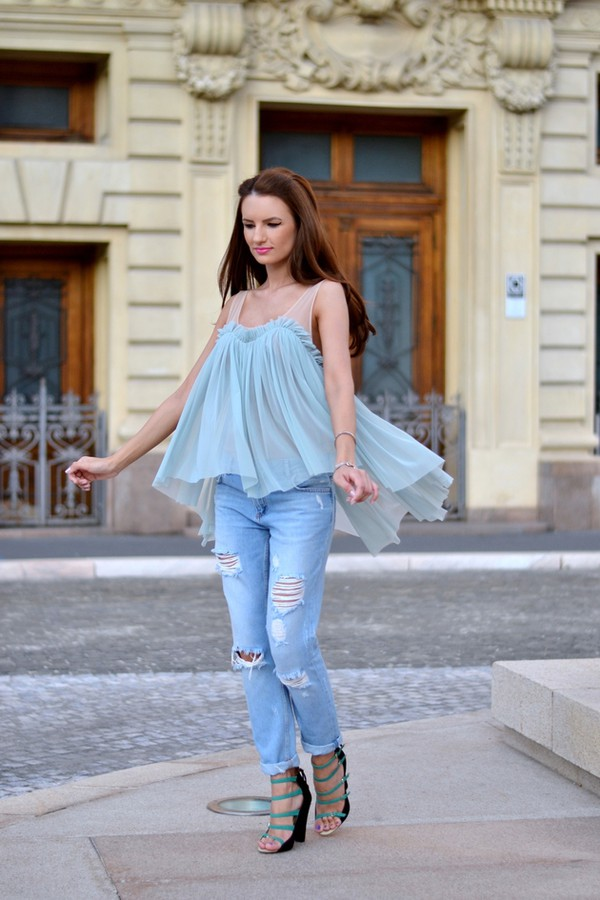 my silk fairytale blogger sunglasses blouse jeans shoes bag