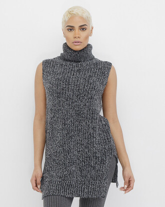 sweater black black sweater knit knitted sweater sleeveless sleeveless sweater