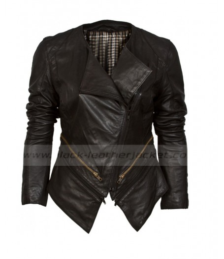 Black Collarless Leather Jacket Womens | Asymmetric Black Biker Jacket