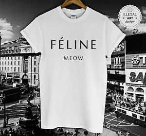 Feline Meow Cat Paris Blog Top T Shirt Hipster Cara Delevingne Tumblr Unisex New | eBay