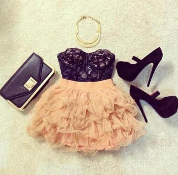 dress coral dress skirt shoes bag jewels shirt