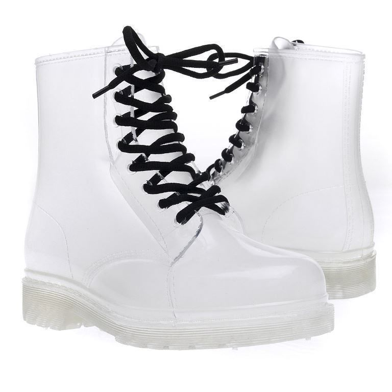 Clear rain boots lace up ankle waterproof transparent jelly shoe booties