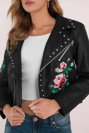 M.I.A Embroidered Studded Faux Leather Jacket