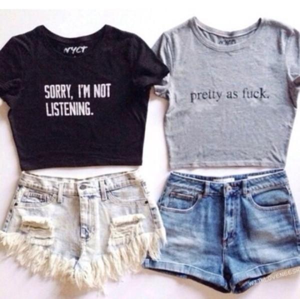 shorts denim shorts t-shirt