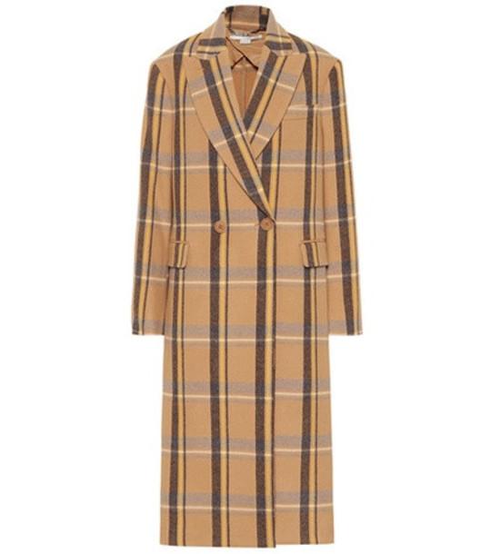 Stella McCartney Checked wool coat in beige / beige