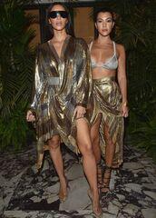 dress,balmain,gold,asymmetrical,asymmetrical skirt,wrap dress,kim kardashian,kardashians,kourtney kardashian,paris fashion week 2016,gold sequins,bra,skirt,sandals,shoes