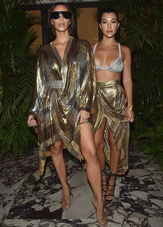 dress balmain gold asymmetrical asymmetrical skirt wrap dress kim kardashian kardashians kourtney kardashian paris fashion week 2016 gold sequins bra skirt sandals shoes