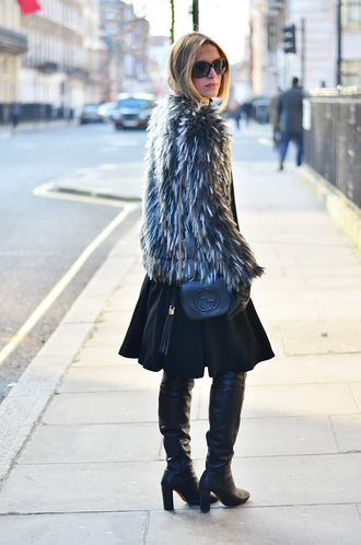 camila carril blogger circle skirt black boots fluffy gucci bag skirt jacket shoes bag