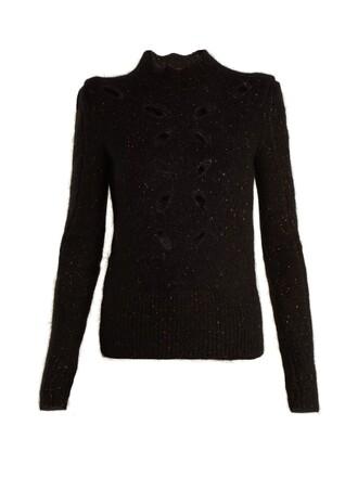 top cut-out knit black
