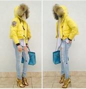 coat,yellow jacket,fur trim hood,padded