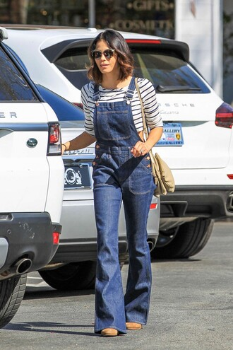jeans overalls denim overalls stripes striped top jenna dewan spring outfits spring purse