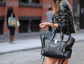 bag,black,studs,leather jacket