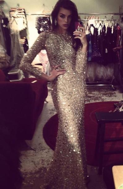 Long sleeve gold sequin dress maxi