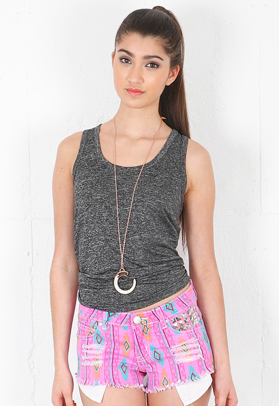 REVERSE Aztec Cut Off Shorts in Purple | SINGER22.com