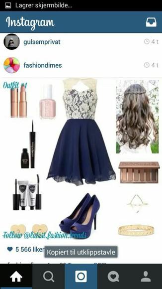 pearl vintage dress bluedress white pattern dress